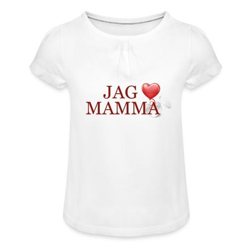 Jag älskar mamma - T-shirt med rynkning flicka