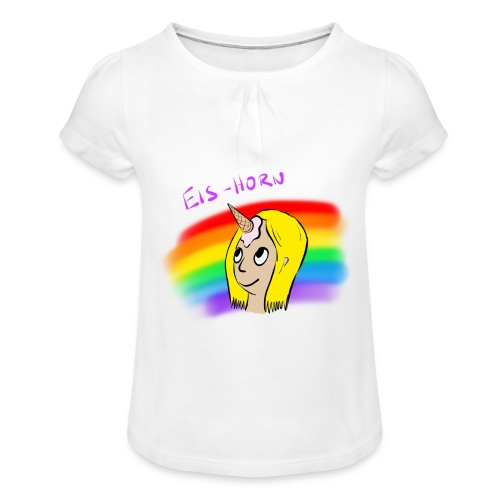 Eis-Horn - Mädchen-T-Shirt mit Raffungen