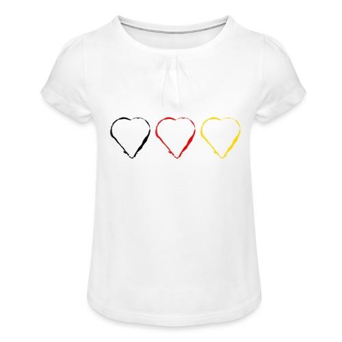 3 Herzen Deutschland #1 - Mädchen-T-Shirt mit Raffungen