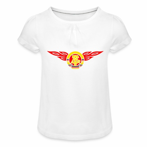 GDR flames crest 3c - Girl's T-Shirt with Ruffles