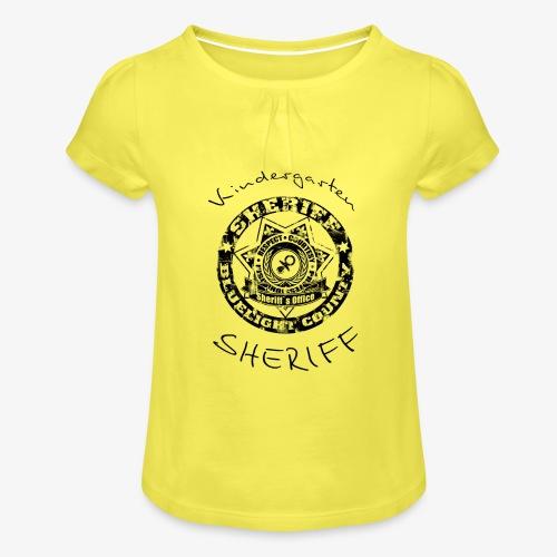 kindergarten sheriff schwarz - Mädchen-T-Shirt mit Raffungen