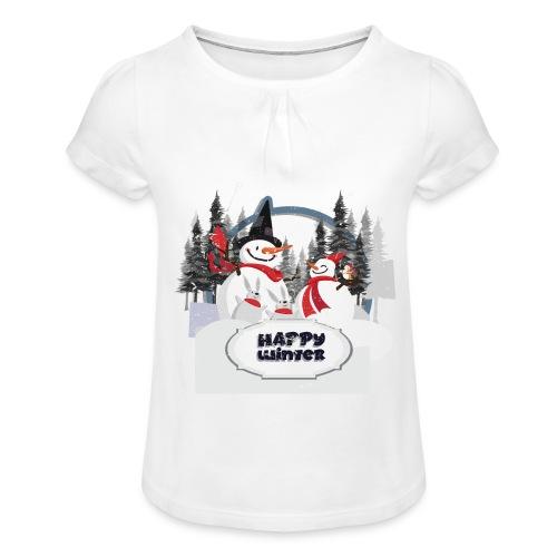 happy winter - T-shirt à fronces au col Fille