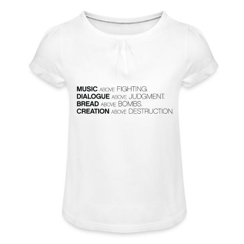 slogan png - Meisjes-T-shirt met plooien