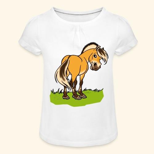 Freundliches Fjordpferd (Ohne Text) Weisse Umrisse - T-shirt à fronces au col Fille