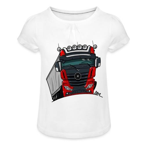 0807 M truck zwart rood - Meisjes-T-shirt met plooien