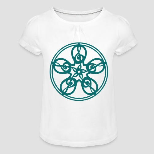 Treble Clef Mandala (teal) - Girl's T-Shirt with Ruffles