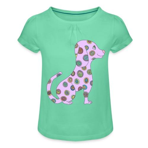 Lilo le chien fleuri - T-shirt à fronces au col Fille