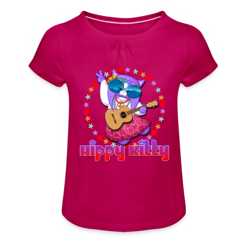 Hippy Kitty - Maglietta da ragazza con arricciatura