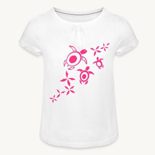 blumige Wasserschildis - Mädchen-T-Shirt mit Raffungen