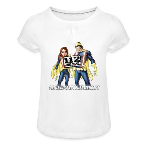 Superhelden & Logo - Mädchen-T-Shirt mit Raffungen