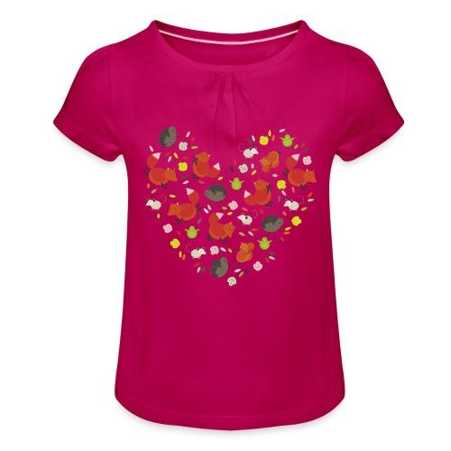 Metikössä - Tyttöjen t-paita, jossa rypytyksiä