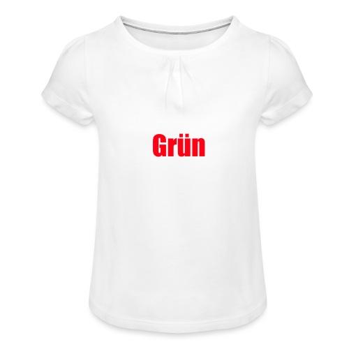 Grün - Mädchen-T-Shirt mit Raffungen