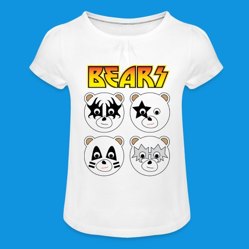 Kiss Bears square.png - Girl's T-Shirt with Ruffles