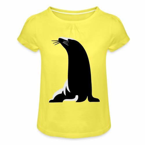 Seehund - Mädchen-T-Shirt mit Raffungen