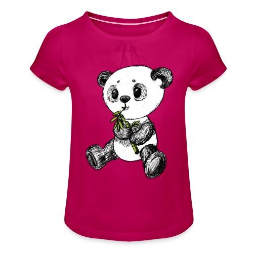 Panda Bär farbig scribblesirii - Mädchen-T-Shirt mit Raffungen