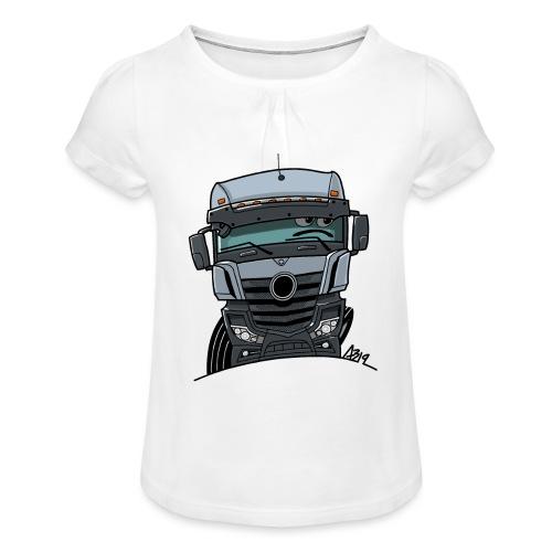 0807 M Truck grijs - Meisjes-T-shirt met plooien