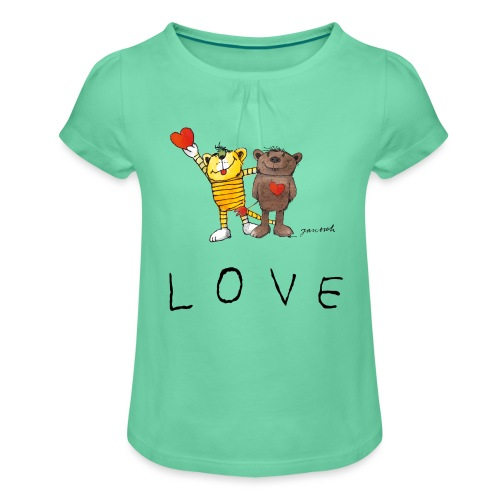 Janosch LOVE Schiftzug Tiger und Bär - Mädchen-T-Shirt mit Raffungen