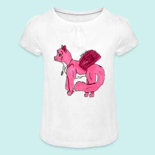 pink_cat_ei_taustaa - Tyttöjen t-paita, jossa rypytyksiä