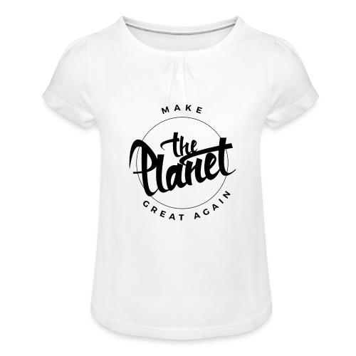 MakeThePlanetGreatAgain Organic Shirt White - Girl's T-Shirt with Ruffles