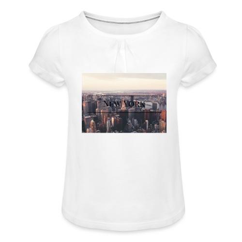 spreadshirt - T-shirt à fronces au col Fille