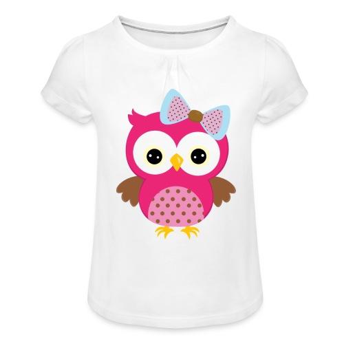 Eulenprints - Mädchen-T-Shirt mit Raffungen