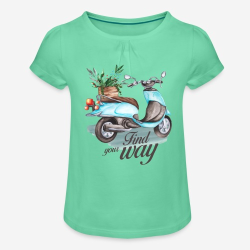 Finde deinen Weg im Leben - Mädchen-T-Shirt mit Raffungen