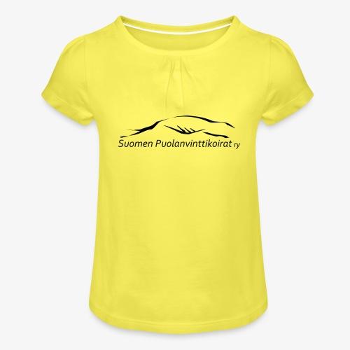 SUP logo musta - Tyttöjen t-paita, jossa rypytyksiä