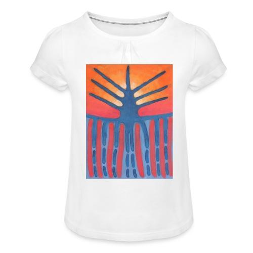 drzewo prehistoryczne 1 - Koszulka dziewczęca z marszczeniami