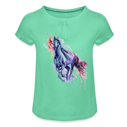 Cute horse shirt - Pige T-shirt med flæser