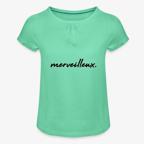 merveilleux. Black - Girl's T-Shirt with Ruffles