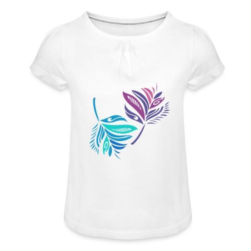 foglie geometriche - Maglietta da ragazza con arricciatura