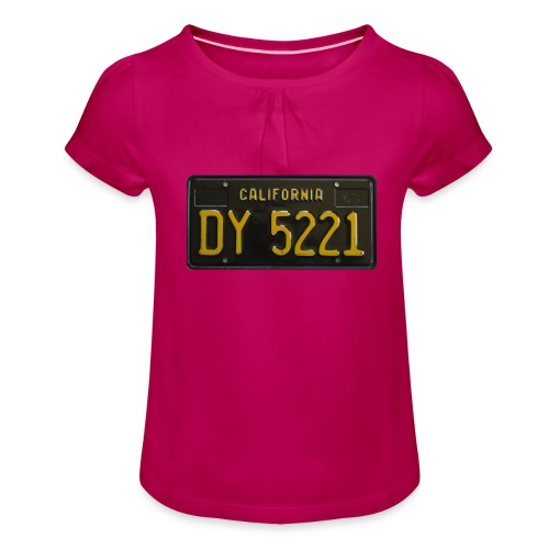 CALIFORNIA BLACK LICENCE PLATE - Girl's T-Shirt with Ruffles