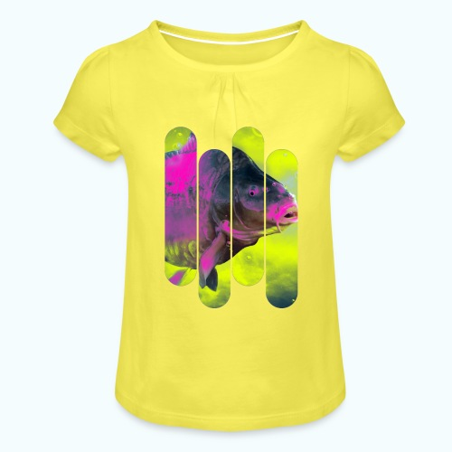 Neon colors fish - Girl's T-Shirt with Ruffles