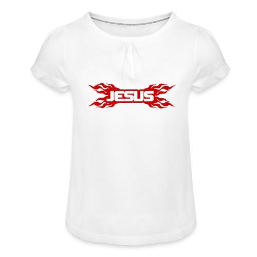 Flaming Jesus Logo 01 - Girl's T-Shirt with Ruffles