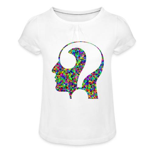 Fragender Kopf - Mädchen-T-Shirt mit Raffungen