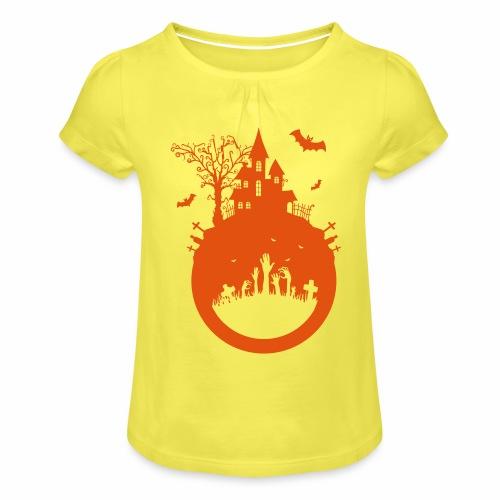 Halloween Design - Das Spukhaus - Mädchen-T-Shirt mit Raffungen