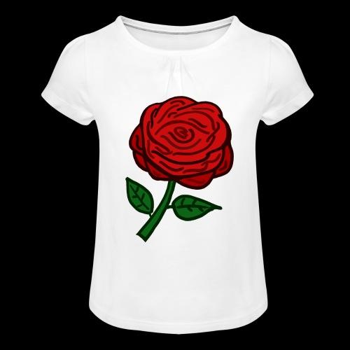 Rote Rose - Mädchen-T-Shirt mit Raffungen