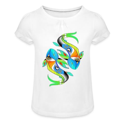 Regenbogenfische - Mädchen-T-Shirt mit Raffungen
