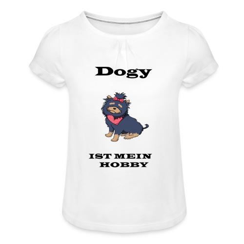 Hund - Mädchen-T-Shirt mit Raffungen