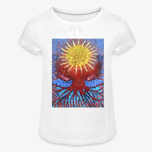 Niebiańskie Drzewo - Koszulka dziewczęca z marszczeniami