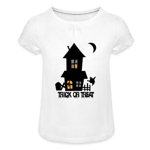 Happy Halloween - Mädchen-T-Shirt mit Raffungen