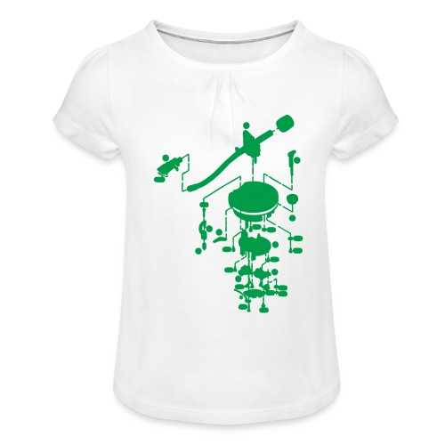 tonearm05 - Meisjes-T-shirt met plooien