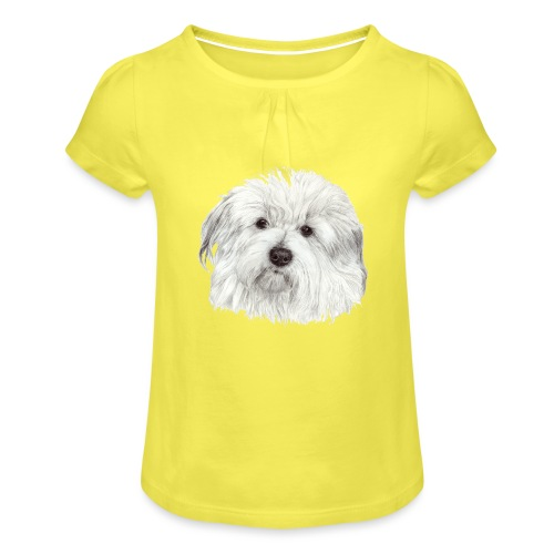 coton-de-tulear - Pige T-shirt med flæser