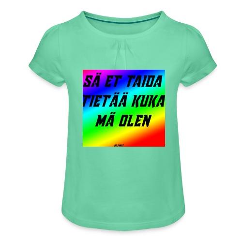 kuka olen - Tyttöjen t-paita, jossa rypytyksiä