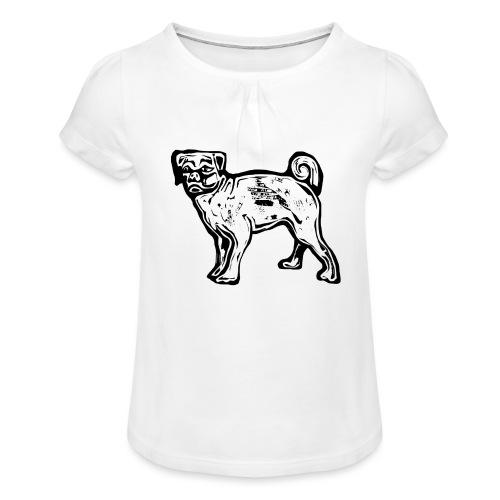 Pug Dog - Girl's T-Shirt with Ruffles