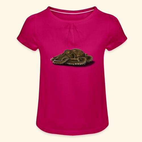 Oktopus - Mädchen-T-Shirt mit Raffungen