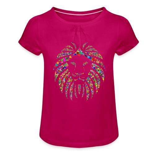 Ausdruck des Löwen - Mädchen-T-Shirt mit Raffungen