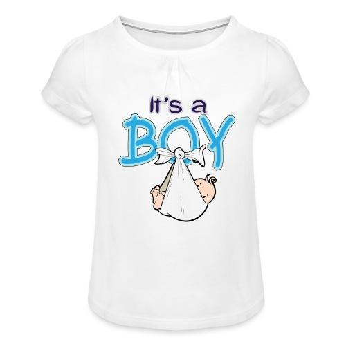 Babyshower Boy Blauw - Meisjes-T-shirt met plooien