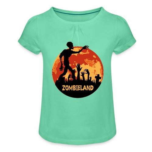 Zombieland Halloween Design - Mädchen-T-Shirt mit Raffungen