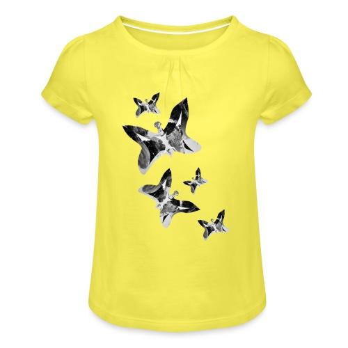 Schmetterlinge - Mädchen-T-Shirt mit Raffungen